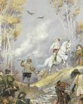 """""""La chasse au Faucon"""", esquisse pour un plafond de l'Hôtel Dufayel par Edouard Detaille"""