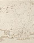 """Dessin de l'""""Explosion d'un bastion à la porte de Carinthie à vienne, en 1809"""" © Photo (C) Paris - Musée de l'Armée, Dist. RMN-Grand Palais / Anne-Sylvaine Marre-Noël"""